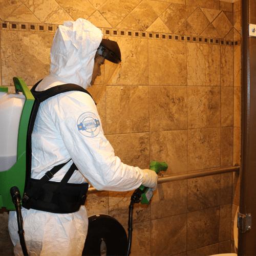 disinfecting bathroom